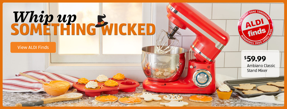 Whip up something wicked. Ambiano Classic Stand Mixer. $59.99. View ALDI Finds.
