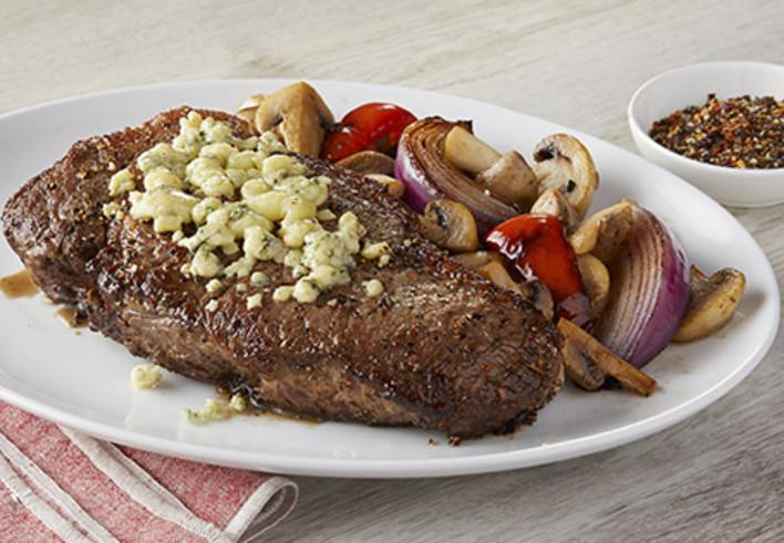 Grilled Ribeye Steak with Mushroom Blue Cheese