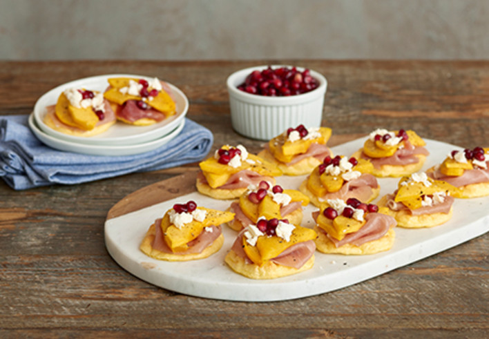 Cloud Bread with Proscuitto, Feta, Squash and Pomegranate
