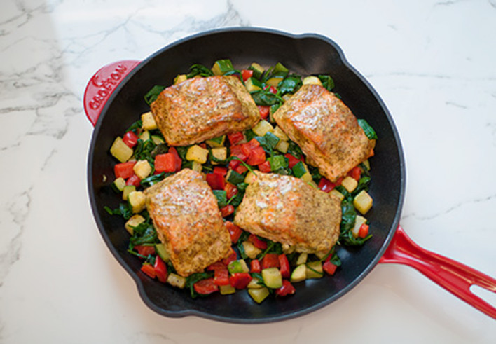 Honey Mustard Salmon With Roasted Vegetables