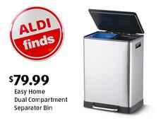 ALDI Find: Easy Home Dual Compartment Separator Bin. $79.99. View details.