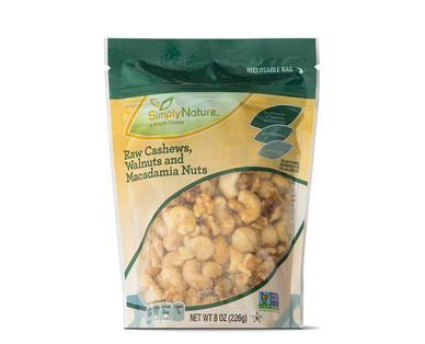 SimplyNature Raw Cashews, Walnuts, and Macadamia Nuts