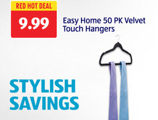 Red Hot Deal: Easy Home 50 Pack Velvet Touch Hangers. View Details.
