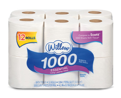 Willow 12 Roll 1000 Sheet Bath Tissue