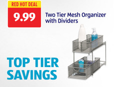 Red Hot Deal: Two Tier Mesh Organizer with Dividers. Click to view details.