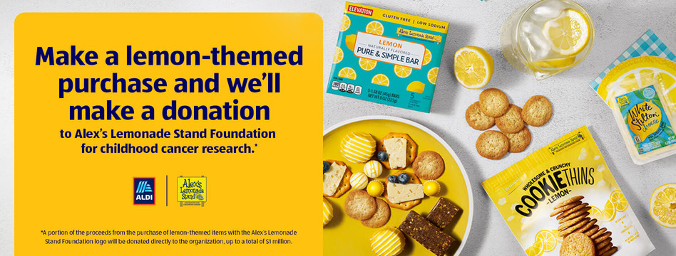 Make a lemon-themed purchase and we'll make a donation to Alex's Lemonade Stand Foundation for childhood cancer research.
