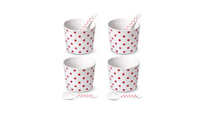 Crofton 4-Piece Porcelain Ice Cream Bowls With Spoons