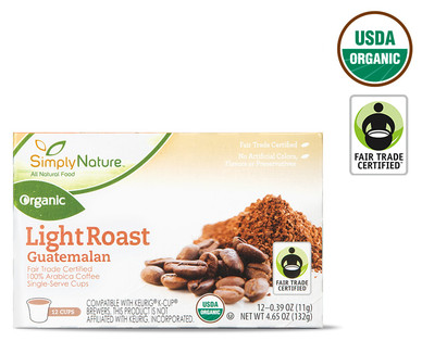 SimplyNature Organic Light Guatemalan Roast Coffee Cups