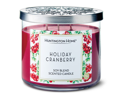 Huntington Home Holiday Cranberry 3 Wick Candle