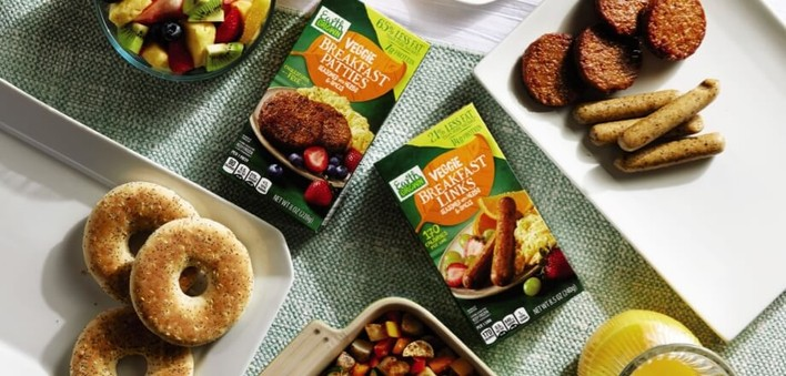 Breakfast Products with boxes of Earth Grown Breakfast Patties and Breakfast Links