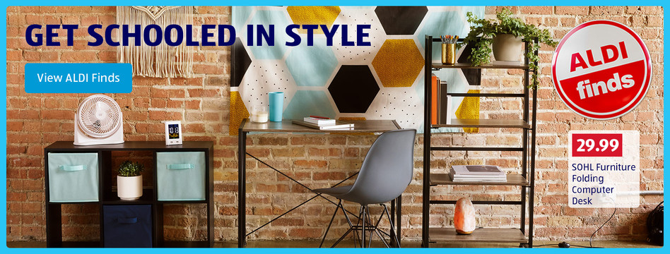 Get schooled in style. SOHL Furniture Folding Computer Desk: $29.99. View ALDI Finds.