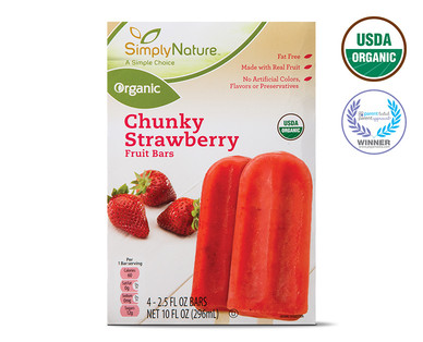 Organic Frozen Chunky Strawberry Fruit Bars