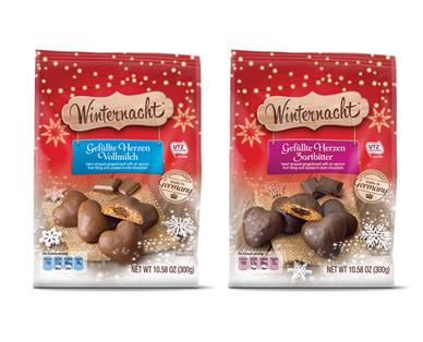 Winternacht Gingerbread Hearts Milk Chocolate or Dark Chocolate