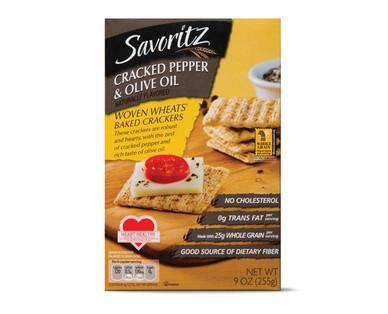 Savoritz Cracked Pepper & Oil Oil Woven Wheat Baked Crackers