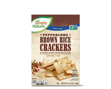 Simply Nature Brown Rice Crackers Peppercorn