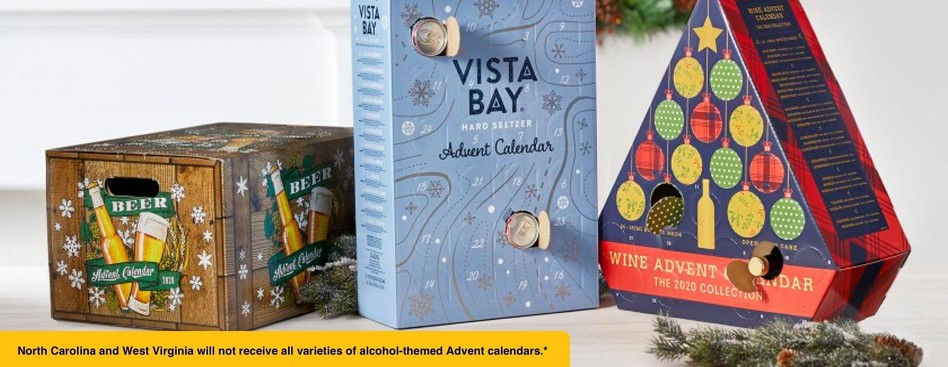North Carolina and West Virginia will not receive all varieties of alcohol-themed Advent calendars.*