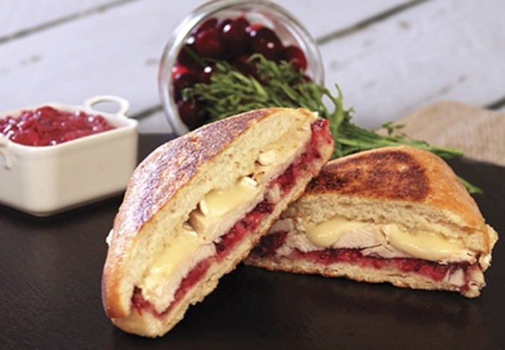 Grilled Turkey Sandwich with Brie and Cranberry Mustard Aioli