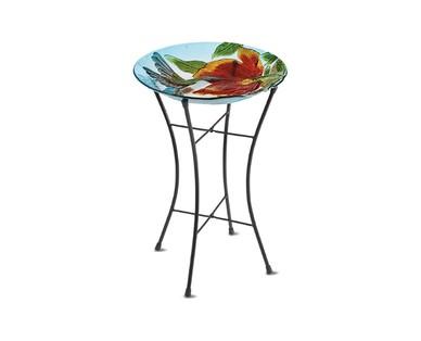 Gardenline Glass Bird Bath with Stand View 1