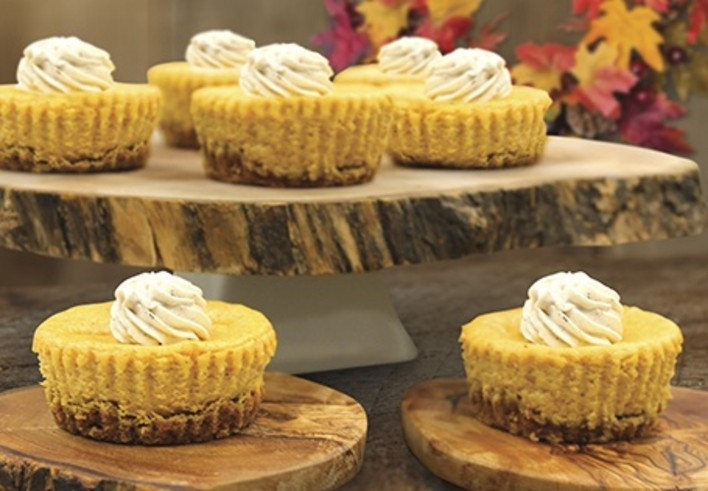 Mini Pumpkin Cheesecakes with a Pretzel Pecan Crust