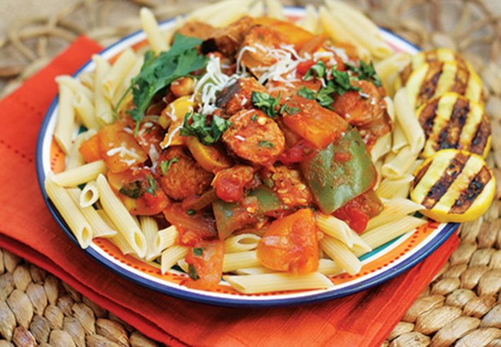 Grilled Sausage with Rustic Vegetables and Pasta