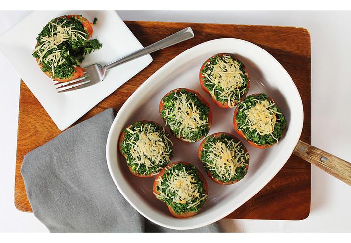 Three Cheese Kale Stuffed Tomatoes