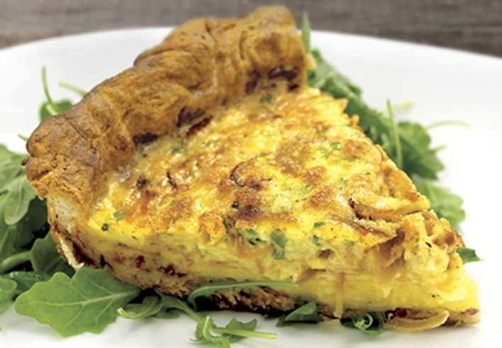 Caramelized Onion & White Cheddar Quiche with a Bacon Crescent Crust