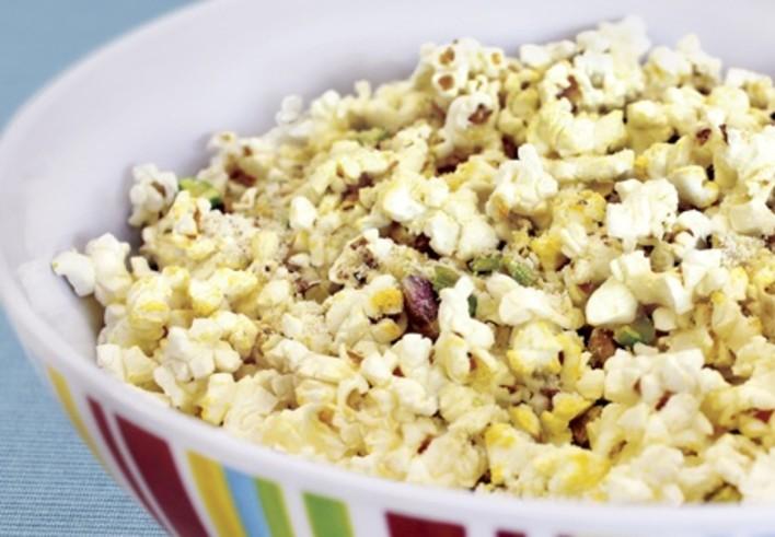 Lemon Parmesan Popcorn with Pistachios