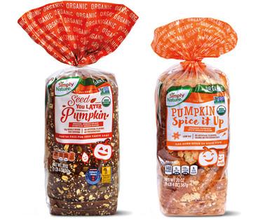 Simply Nature Organic Whole Grain Seeded Pumpkin or Pumpkin Spice Bread