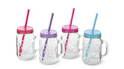 Crofton 4-Pack Glasses With Lid and Straw