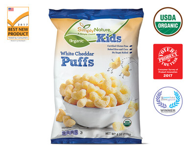 SimplyNature Kids Organic White Cheddar Puffs