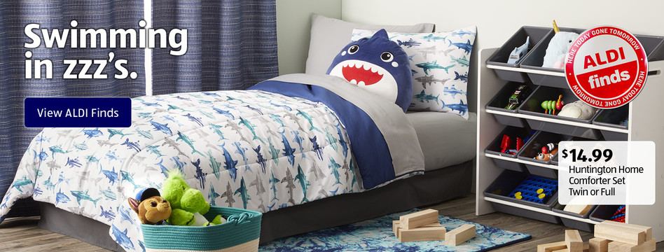 Swimming in zzz's. Huntington Home Comforter Set Twin or Full. $14.99. View ALDI Finds.
