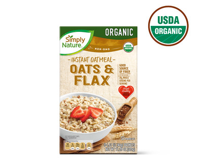 Simply Nature Organic Oats and Flax Instant Oatmeal