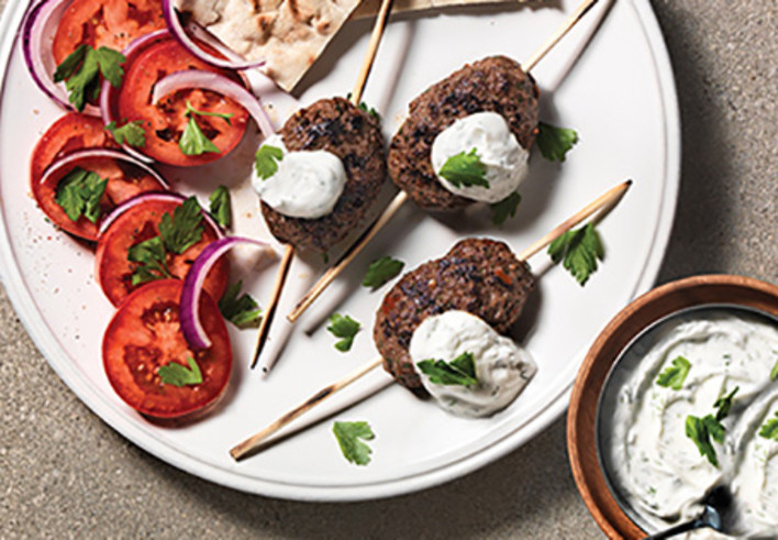 Grilled Beef Kofta Skewers with Tzatziki Dipping
