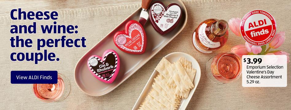 ALDI Find: Emporium Selection Valentine's Day Cheese Assortment 5.29 oz. $3.99. View ALDI Finds.