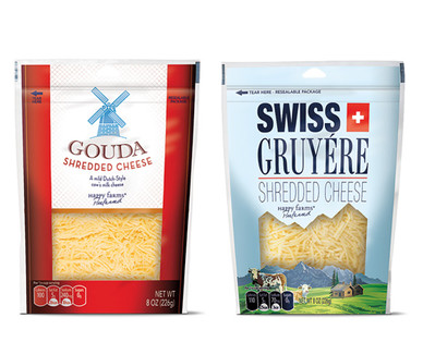 Happy Farms Preferred Gouda or Swiss and Gruyere Specialty Shreds