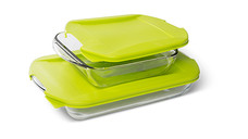 Crofton 4-Piece Glass Bakeware With Green Lids
