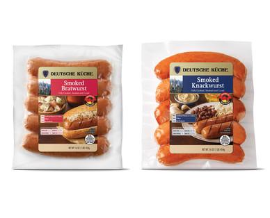 ALDI US Deutsche Küche Smoked Bratwurst or Knackwurst