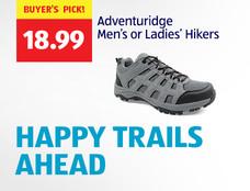 HAPPY TRAILS AHEAD. $18.99. BUYER'S PICK! Adventuridge Men's or Ladies' Hikers.
