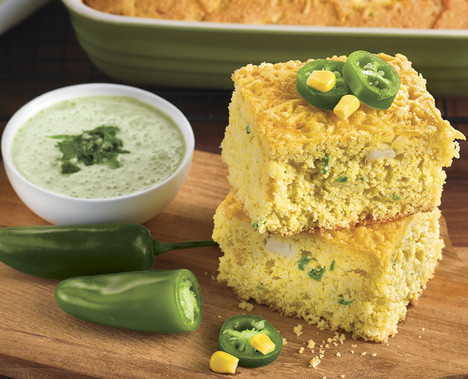 Jalapeño Corn Bread with Lime Jalapeño Cream