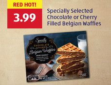 Red Hot! Specially Selected Chocolate or Cherry Filled Belgian Waffles. View Details.