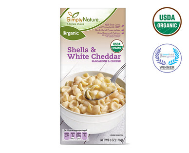 SimplyNature Organic Shells & White Cheddar