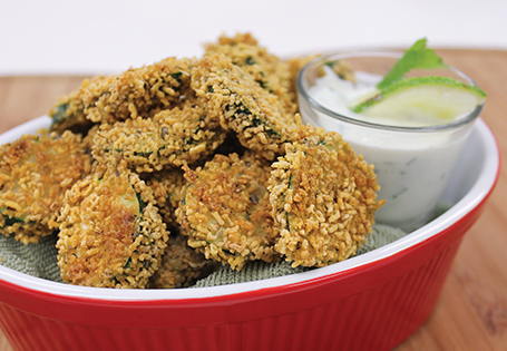 ... & Snacks Vegetarian Oven Fried Zucchini with Jalapeño Dipping Sauce
