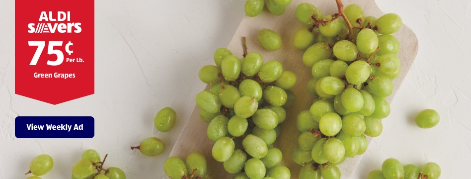 ALDI Savers. 75 cents Per Lb. Green Grapes. View Weekly Ad.