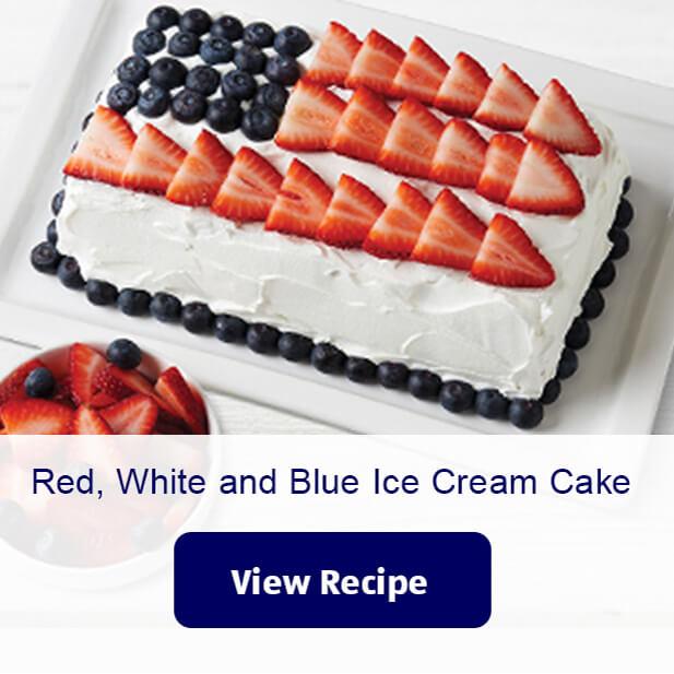 Red, White and Blue Ice Cream Cake. View Recipe.
