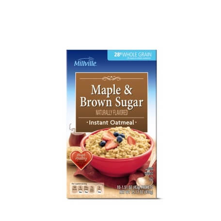 Millville Variety Pack or Maple & Brown Sugar Instant Oatmeal