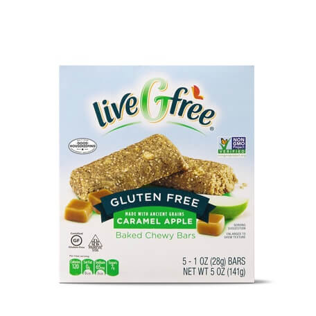 liveGfree Gluten Free Carmel Apple Baked Chewy Bars