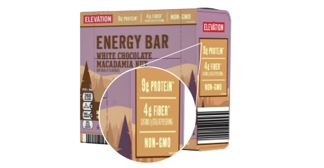 Elevation energy bar box showing 9g of protein, 4g of fiber and non-GMO.