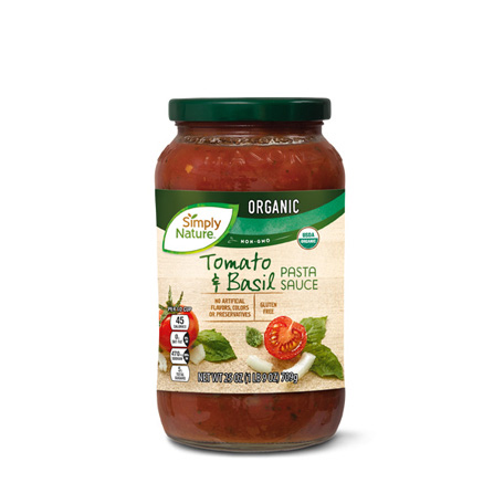 Organic Tomato Basil Pasta Sauce Simply Nature Aldi Us