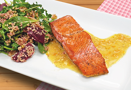 Salmon Fillet with Orange Butter and Arugula Couscous Salad