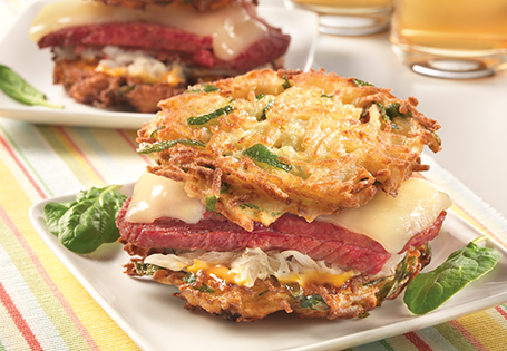 Spinach and Potato Pancake Corned Beef Sandwich